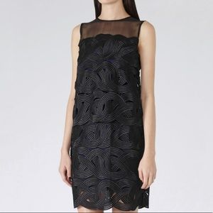 Reiss sleeveless black overlay career style dress